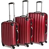 TecTake Trolley valigia valigie set rigido borsa 3 pz. - disponibile in diversi colori - (Rosso vino)