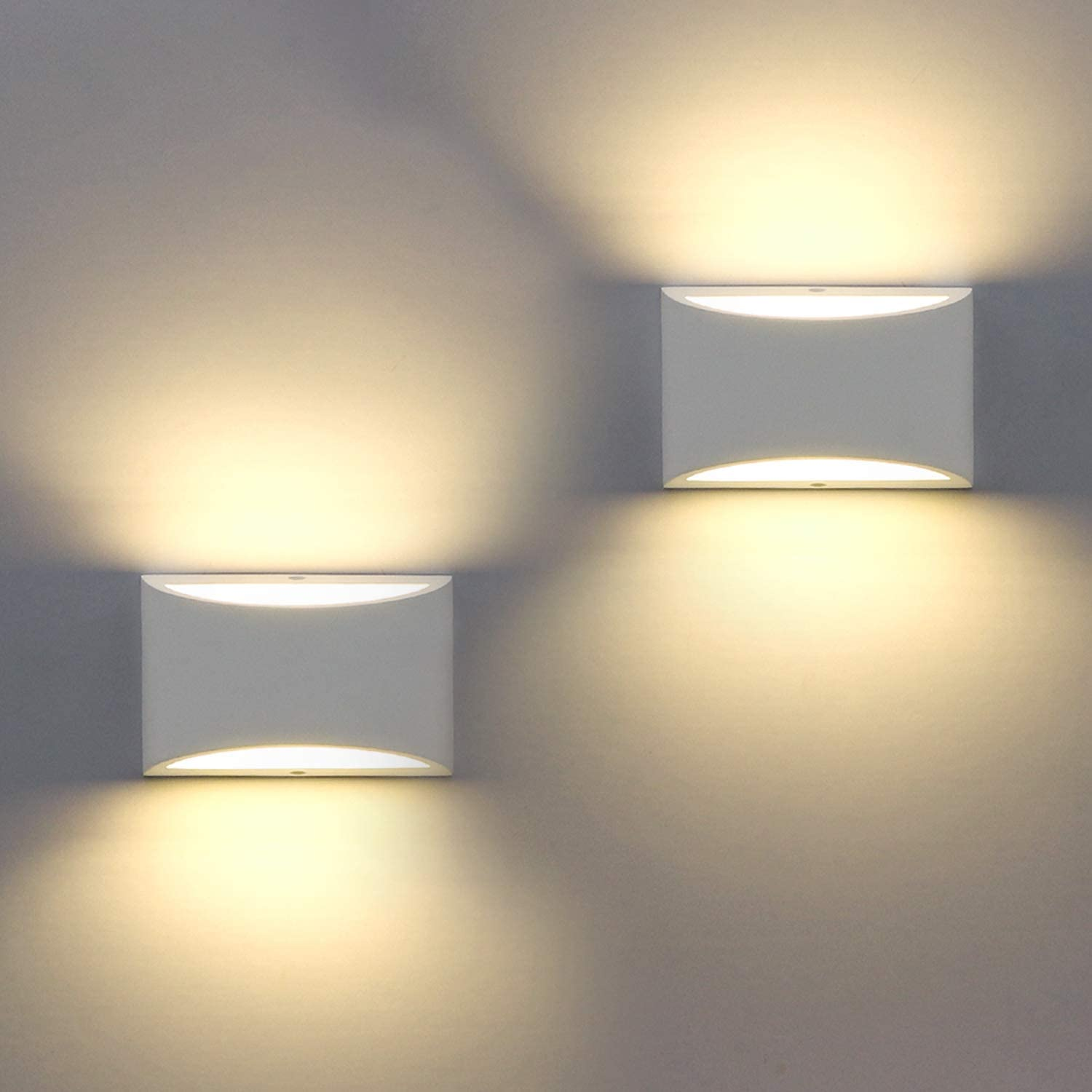 2 Pack Modern Wall Sconce Sobrovo Indoor Wall Lights Uplighter Downlighter Gypsum Plaster Sconce Lighting With 2700k 7w G9 Led Bulbs For Bedroom Hallway Porch Corridor Stairs Not Battery Operated Amazon Com