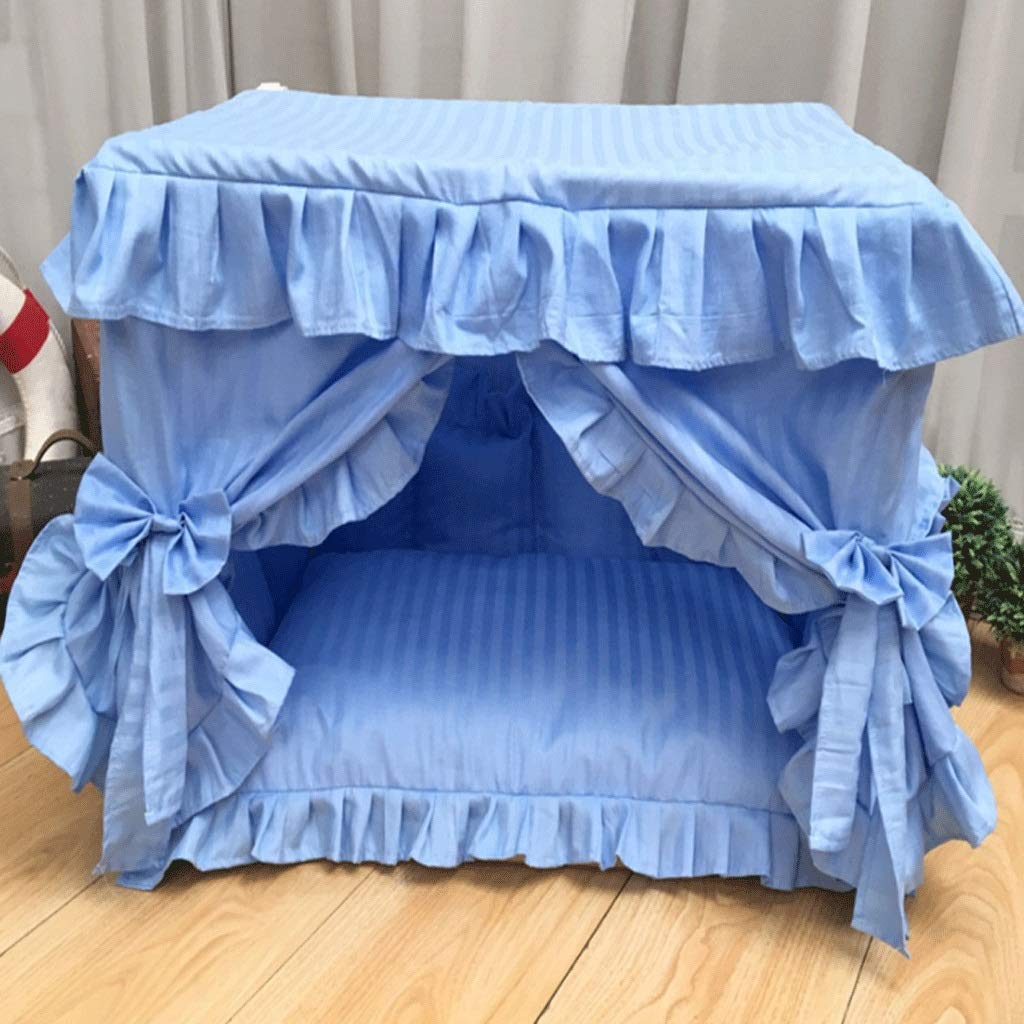 Plain bluee 50×30×40cmPet Beds Square Princess Bed Zipper Kennel Variety Style Semiclosed Winter Warm Detachable Pet House Living Room Bedroom Balcony Universal Cat House A+