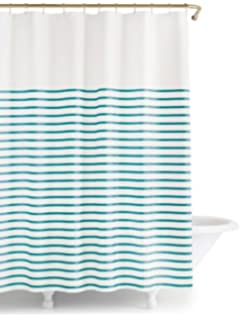 New York Harbour Stripe Shower Curtain White Turquoise 72Wx72L