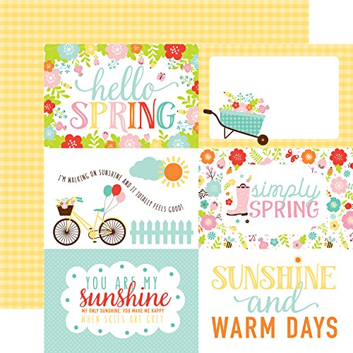 "Echo Park Paper 4""X6"" Journaling Cards/Yellow Check Hello Spring Double-Sided Cardstock 12""X12"""