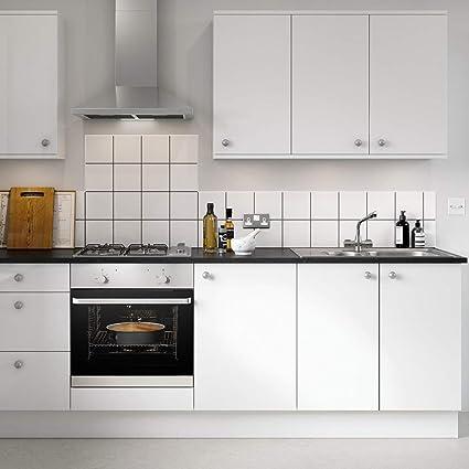 KINLO Adesivi Carta per mobili 0.6M x 5M PVC Impermeabile Adesivi mobili  rinnovato mobili da Cucina Bianca