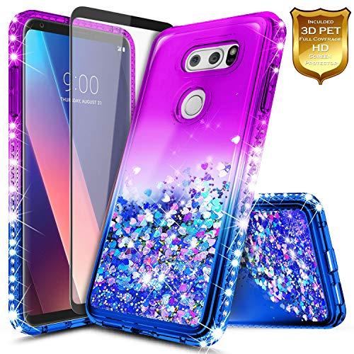 LG V30 Case, NageBee Glitter Liquid Quicksand Waterfall Flowing Sparkle Diamond Shockproof Girls Cute Case for LG V30, V30s, V30 Plus, V35, V35 ThinQ w/[Full Cover Soft Screen Protector] -Purple/Blue