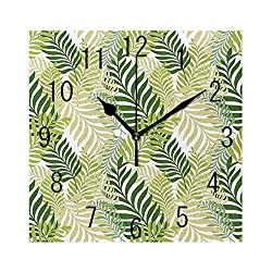 YABABY Square Wall Clock Battery Operated Quartz Analog Quiet Desk 8 Inch Clock, Tropic Exotic Palm Tree Leaves Natural Botanical Spring Summer Contemporary Graphic