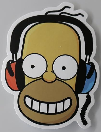 Awe Inspiring Homer Simpson Headphones Multi Surface Sticker Amazon Co Uk Beutiful Home Inspiration Ommitmahrainfo