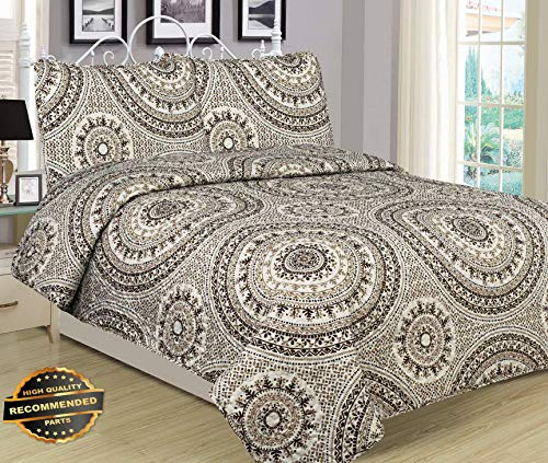 Werrox Full, Queen, or King Quilt Boho Medallion Brown Tan Ivory Bedspread 3 Piece Set | Full Size | Quilt Style - Medallion Pinecone