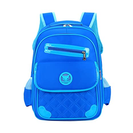 bb76299c0834 Uniuooi Primary School Book Bag for 5-7 Years Old Boys Girls Backpack  Waterproof Nylon Kids Rucksack Small Blue  Amazon.co.uk  Luggage