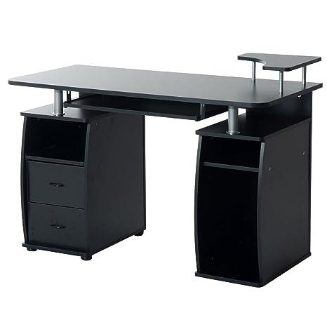 HOMCOM 2454140031 mesa de escritorio para ordenador mobiliario de despacho y oficina color negro madera 120x55x85cm
