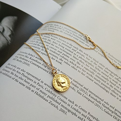 925 Sterling Silver Chain Necklace Jewelry Charm Gold Coin Pendent Simple Delicate Chic Fashion by yomee (Image #1)