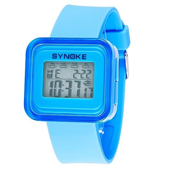Reloj digital para niños,Resistente al agua 50 metros Luminoso Despertador Fecha Piscina Jalea reloj de Mesa para niños Niños y niñas-A: Amazon.es: Relojes