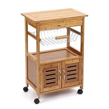 39 Marston 39 Wooden Garden Kitchen Storage Trolley With Natural Wood