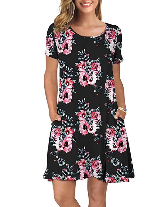 Women's Shirt Sleeve Pockets Summer Casual Swing Dresses