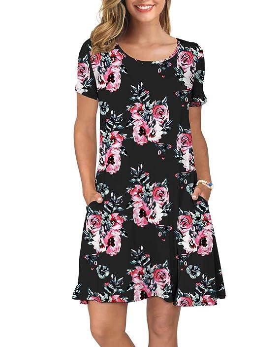 Women's Shirt Sleeve Pockets Summer Casual Swing Dresses