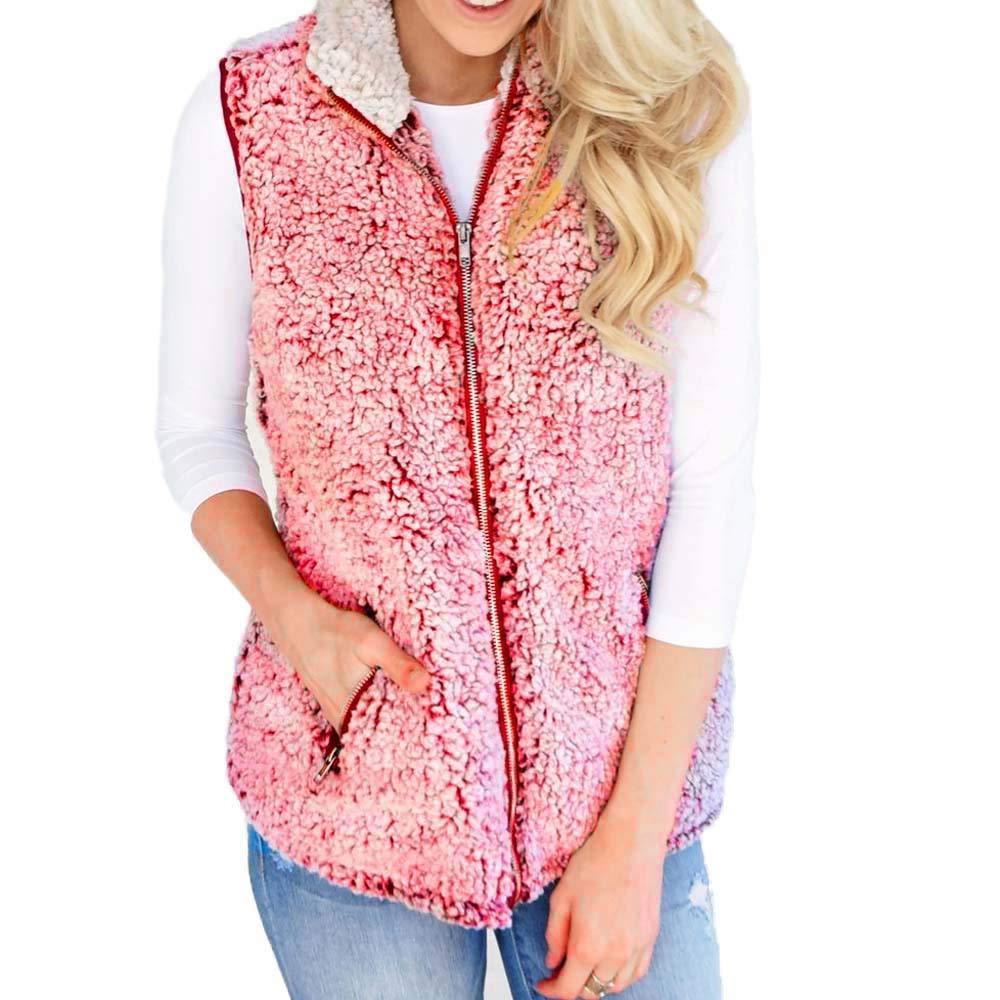 Women's Winter Vest, Warm Faux Fur Zip Sherpa Jacket Outwear by Changeshopping Women' s Winter Vest Changeshopping Blouse change50