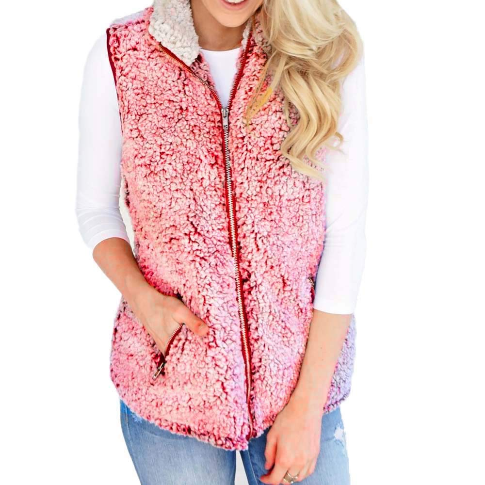 Ximandi Women's Winter Warm Vest Outdoor Casual Faux Fur Zip Up Sleeveless Sherpa Jacket