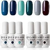 Gellen 6 Colors Gel Nail Polish Set - Sapphire Emeralds Series Classy Dark Nail Gel Colors, Home Gel Manicure Kit