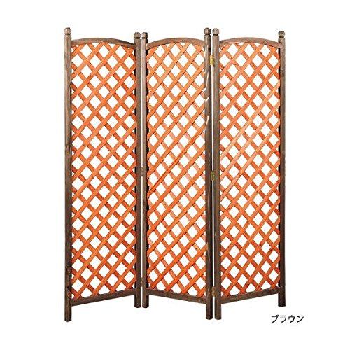 お手軽 ガーデンパーテーション(衝立) 【2: 3連/格子タイプ/高さ180cm】 木製 ブラウン 【完成品】 B07CYXVJ78