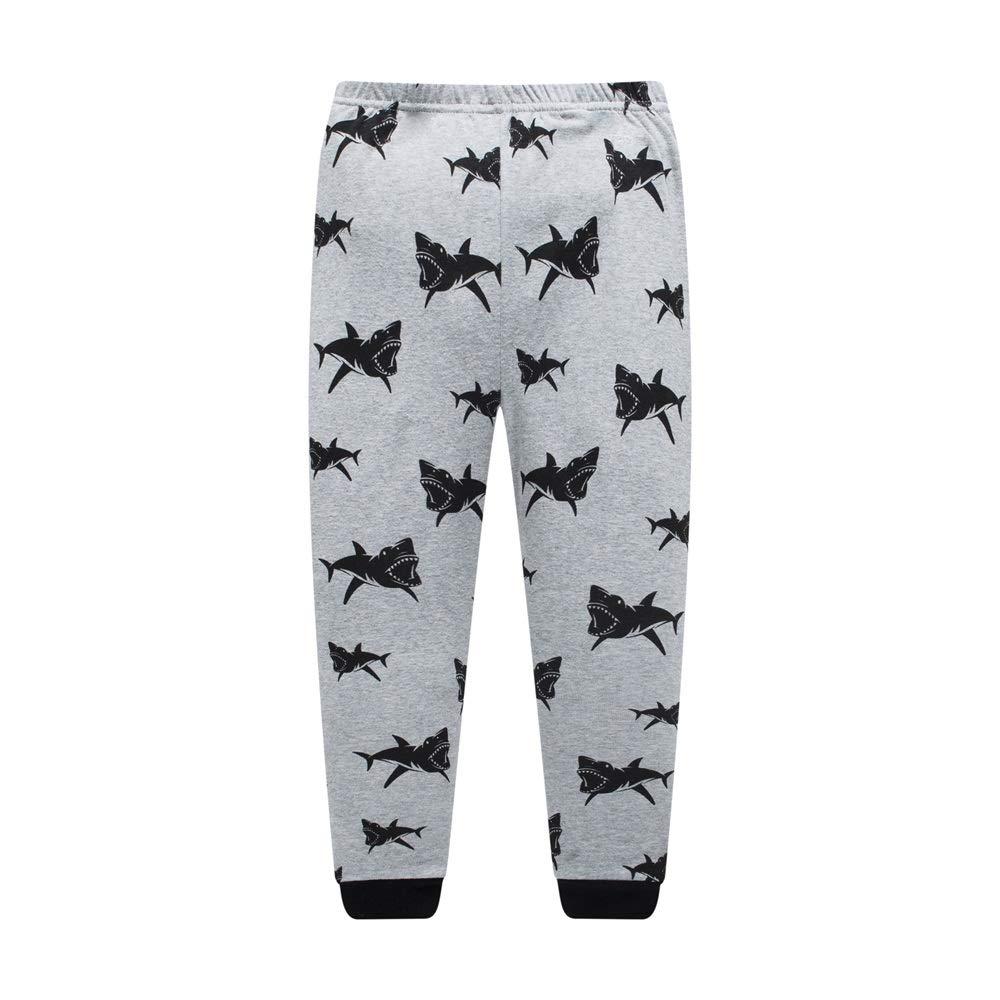 Little Kids Sleepwear Long Sleeve Pajama Set with Grey Shark