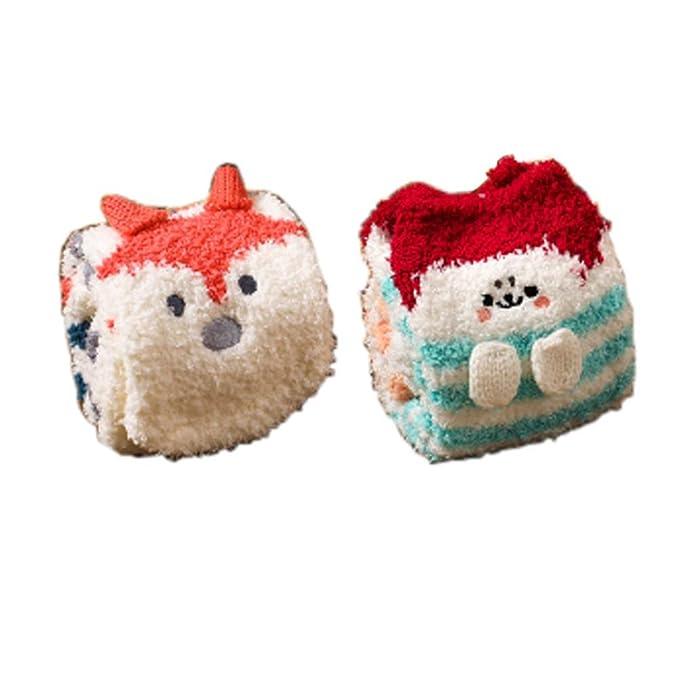 Fancy Pumpkin 2 pares de calcetines de dormir difusos suaves calcetines calcetines cálidos calcetines de piso Regalos de Navidad, zorro y conejo: Amazon.es: ...