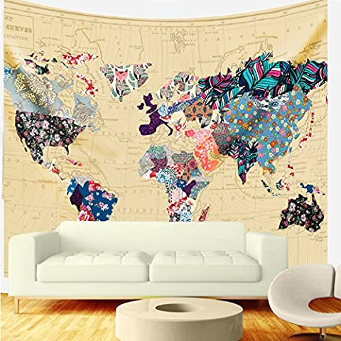Bonnie Bone Floral Watercolor World Map Tapestry Colorful Printed Wall Hanging For Living Room Bedroom Dorm Home Decor - Floral Tapestry