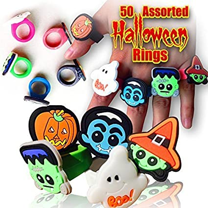 50 Halloween Novelty Rings Assorted Designs - Teenage/Adult Size