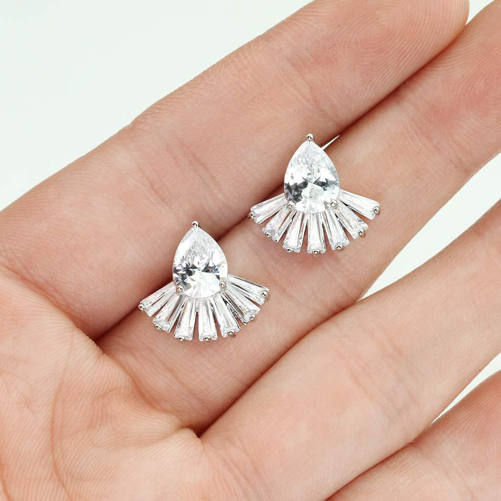 MoBody One Pair Tear Drop Cubic Zirconia with Baguette Cut CZ Fan Womens Earrings Surgical Steel Stud Earrings for Girls