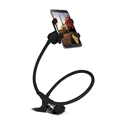 Gooseneck Cellphone Holder, Moclever Universal Gooseneck Clamp Lazy Mount, Gooseneck Phone Holder, 360 Degree Rotation Flexible Clip-on Stand for iPhone Samsung Galaxy Beside Bed, Car, Sofa (Black)