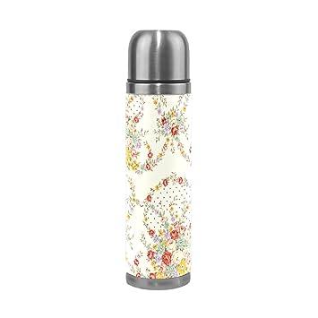 JSTEL Tumblr Flores Aislado al vacío Botella de Agua de Acero Inoxidable a Prueba de Fugas
