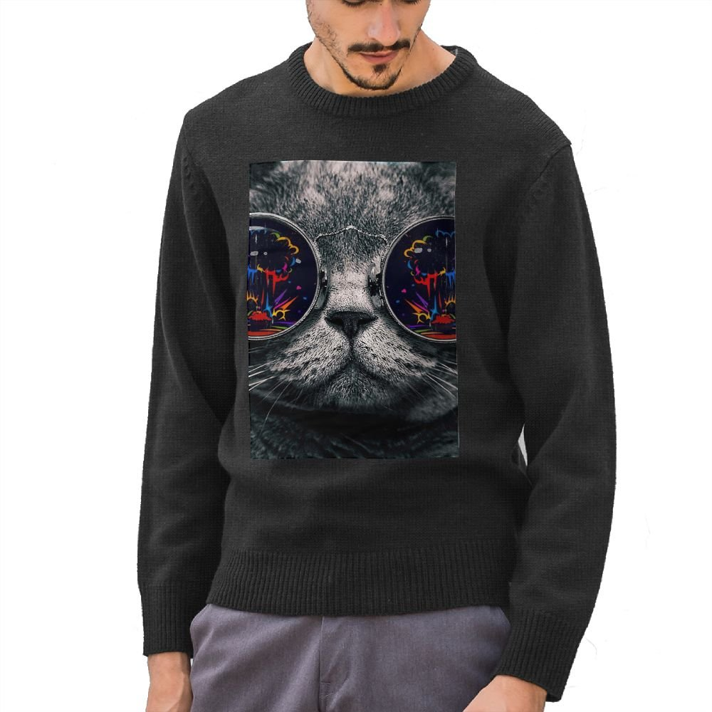 Men's Big Glasses Cat DIY Custom Pattern Fashion Long Sleeve Sweater Jumpers Pullover Medium
