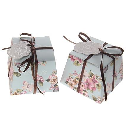 50pcs Florales Trapezoidales de Boda Cajas del Caramelo con las Etiquetas y Cintas - azul, 110 cm * 120 cm / 43.3inch * 47.24inch