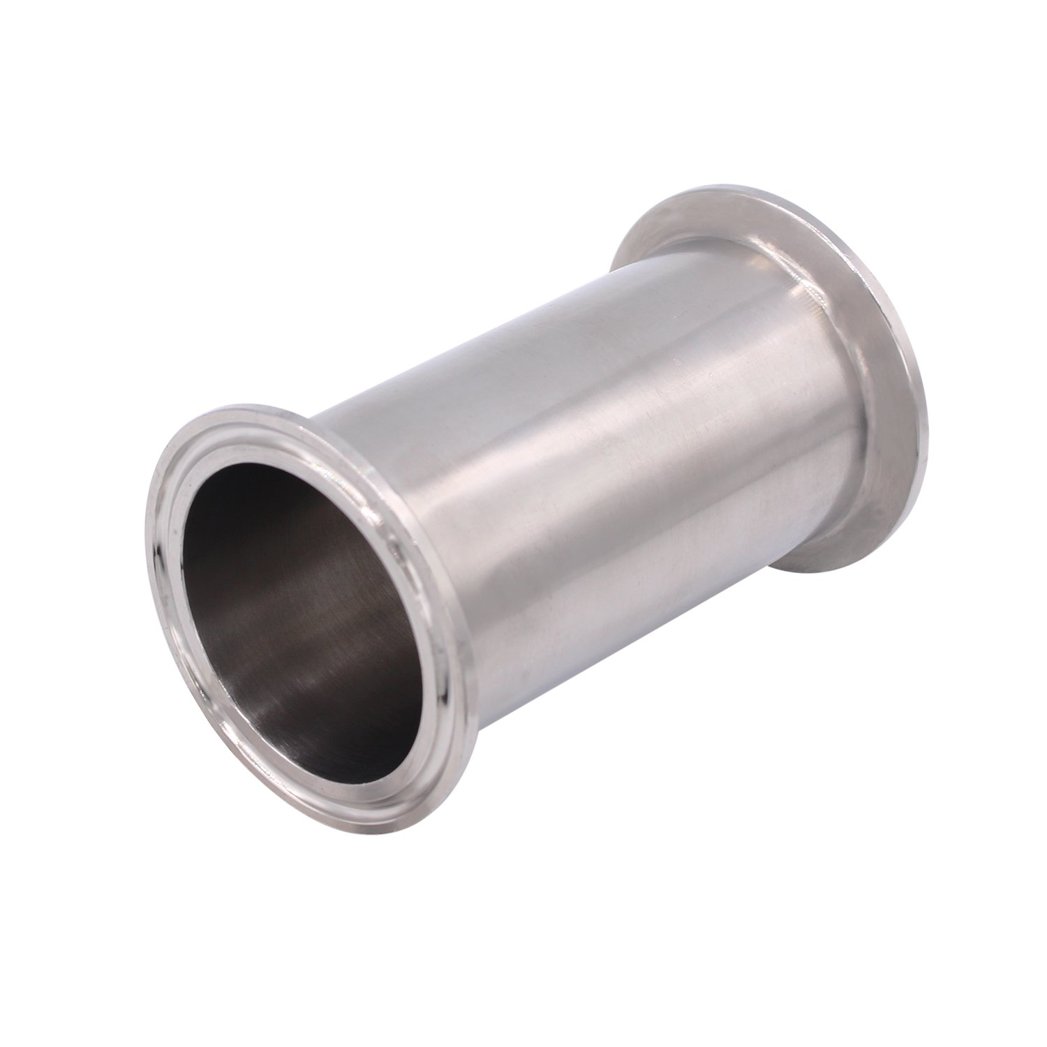 Dernord Sanitary Spool Tube with Clamp Ends, Stainless Steel 304 Seamless Round Tubing with 1.5 inch Tri Clamp 50.5MM Ferrule Flange (Tube Length: 18 inch / 458MM)