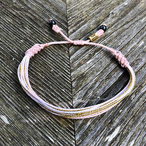 RUMI SUMAQ Breast Cancer Awareness Pink and Gold Multistrand String Friendship Bracelet with Hematite Stones - Handmade Macrame Adjustable Bracelet