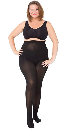 97d76ededc161 All Woman Plus Size Tights 60 Denier Opaque Microfibre (Black UK22/32) PACK  OF 3: Amazon.co.uk: Clothing