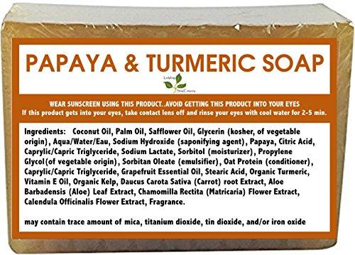 1 BAR - Natural Handmade Papaya Turmeric Skin Lightening Soap for Acne Scars, Age Spot, Liver Spot, 6 oz (Papaya Soap Bars)