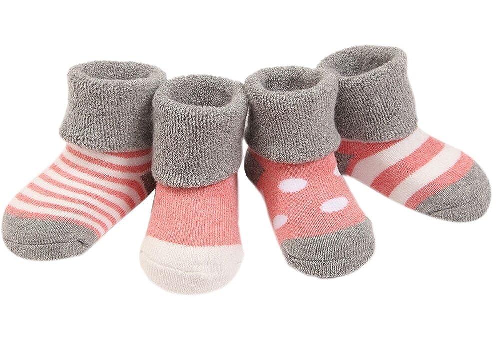 Ueither Infantil Bebé Niñito Acogedor 4 Estilos Calentar Grueso linda Calcetines para Niñas y Niños 4 Pares