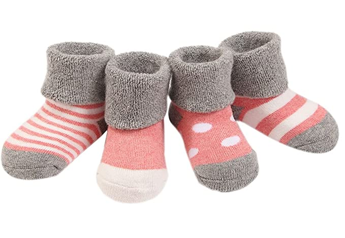 Ueither Infantil Bebé Niñito Acogedor 4 Estilos Calentar Grueso linda Calcetines para Niñas y Niños 4