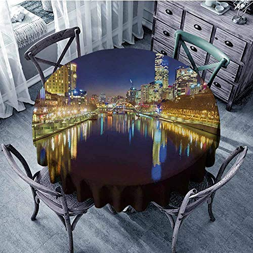 Sumilace City Soil Resistant Tablecloth Looking Down The Yarra River on a Beautiful Night in Melbourne Water Reflection Perfect for Dinner 47