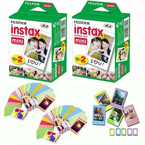 Fuji Instax Mini Instant Film 40 Shots with Bonus 20 Decorative Skin Stick-on Stickers for Fuji Instax Mini 8 and - Color Lenses Candy