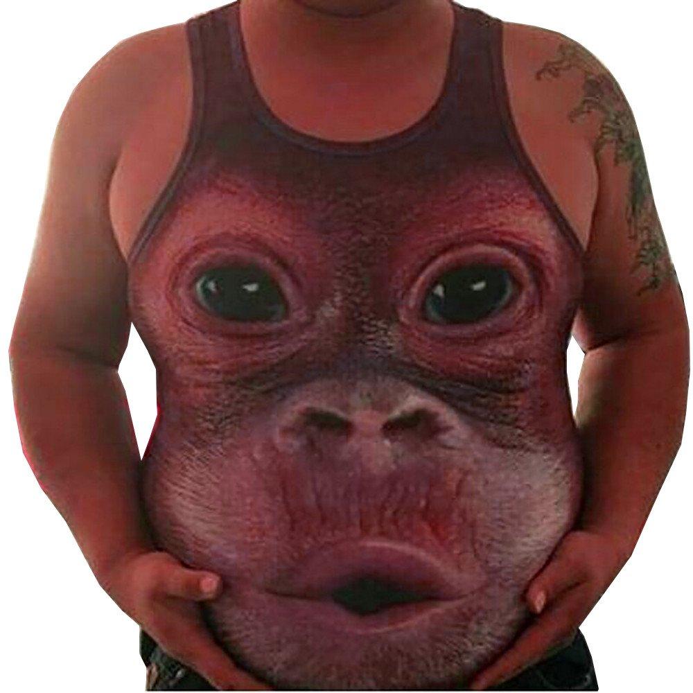 Men Casual Plus Size Elastic Vest,Sleeveless Orangutan face Print Obesity Tops Tank O-Neck Blouse Wine Red