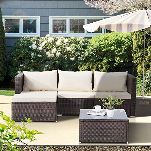 mecor Wicker Patio Furniture Set, 5 PC Outdoor Rattan Furniture Set Cushioned Sectional Sofa &Glass Coffee Table, Garden,Backyard,Lawn Furniture Brown
