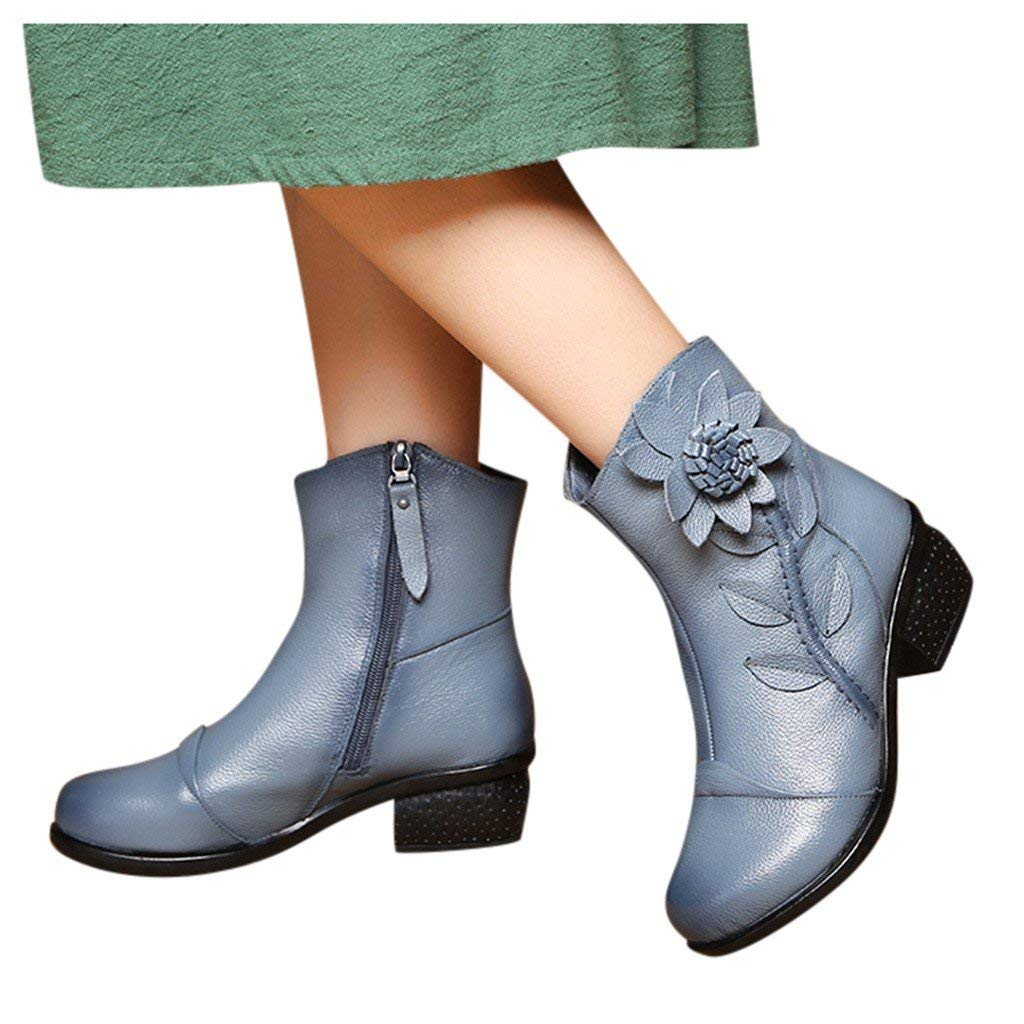 Veodhekai Women Vintage Low Heel Boots Roman Shoes Side Zip Shoes Ankle Bare Boots Square Heel Casual Booties Work OL Gray by Veodhekai