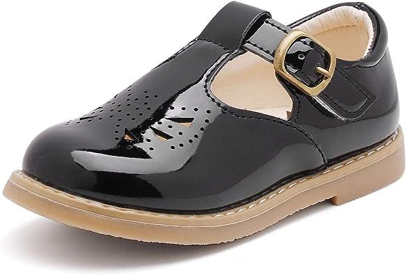 Amazon.com | WUIWUIYU Toddlers Little Girls Soft Vintage Style T-Strap  Oxfords Mary Jane Flats Dress Shoes | Flats