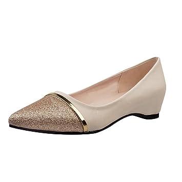 Zapatos de mujer , ❤️Amlaiworld Zapatos planos de tacón bajo de mujer Zapatos informales de punta ...