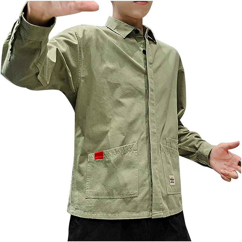 PARVAL Hombre Camisa de Trabajo Retro Camisa Casual de Corte ...