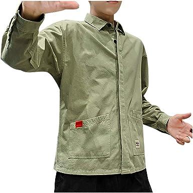 PARVAL Hombre Camisa de Trabajo Retro Camisa Casual de Corte Ajustado Camisa Militar Camisas de algodón de Manga Larga Camisas de Hombre para Traje/Negocios/Boda/Ocio M - XXXL: Amazon.es: Ropa y accesorios