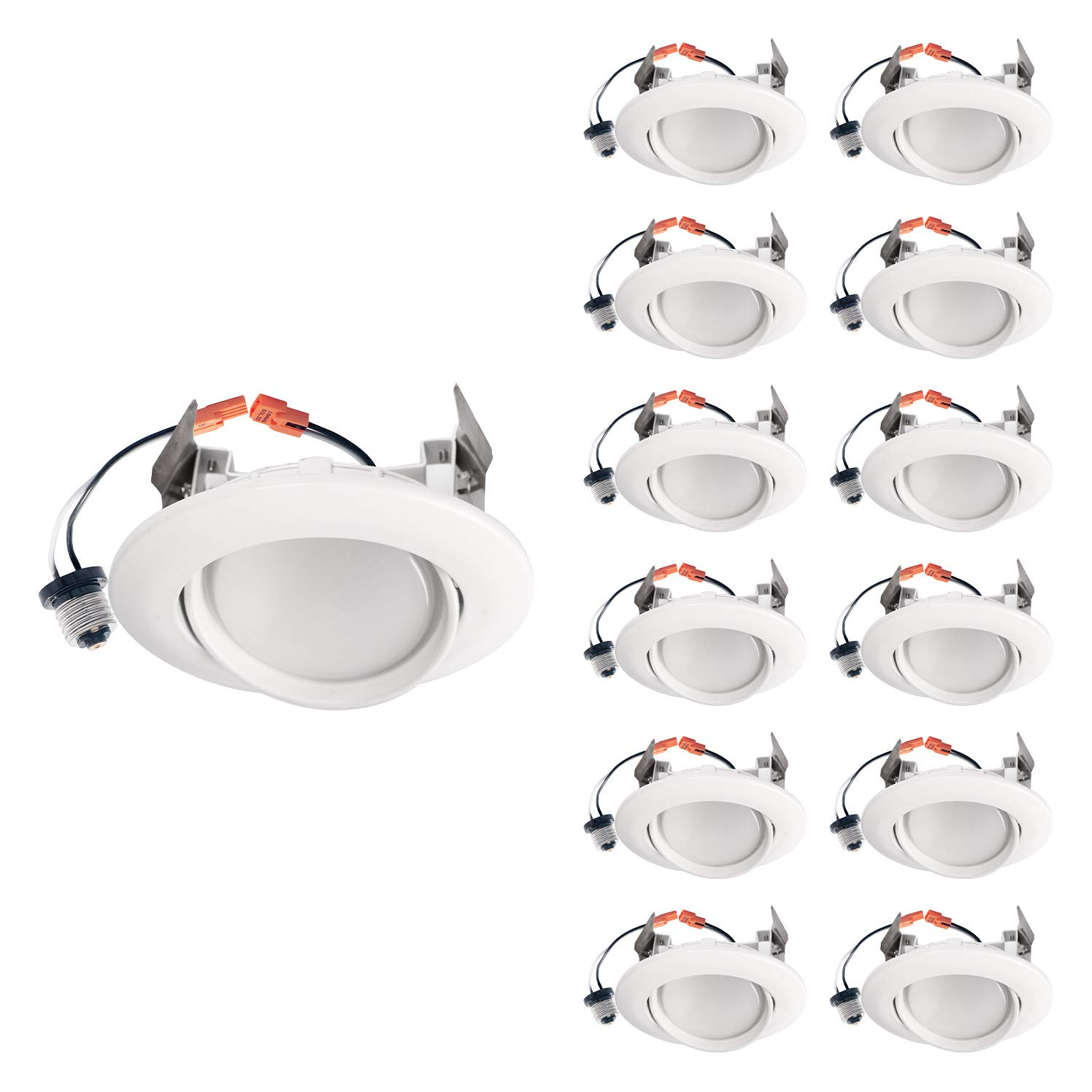 OSTWIN (12 Pack) 4 inch Dimmable LED Downlight Recessed Ceiling Light Fixture, Adjustable Gimbal Trim Kit Can Light, 10 W (75 Watt Replacement), 900 Lm, 5000K Daylight, ETL & Energy Star
