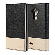 LG G4 (H815) Case, GMYLE Wallet Case Clip for LG G4 (H815) - Black & Champagne Gold PU Leather Slim Stand Case Cover