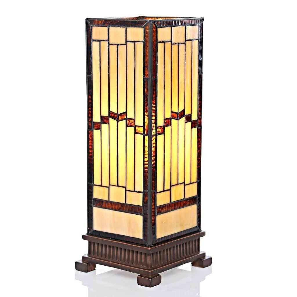 River of Goods Mission-style Stained-glass Rustic 17-inch Hurricane Accent Lamp