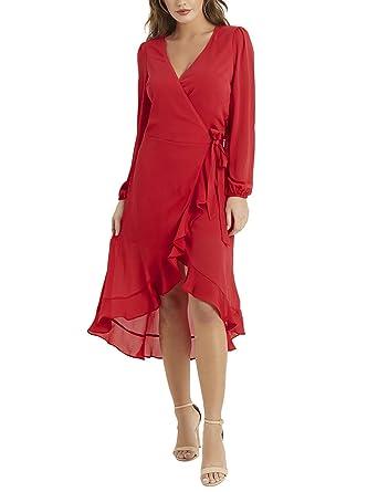 LIPSY Womens Ruffle Wrap Midi Dress Red US 0 (UK 4)