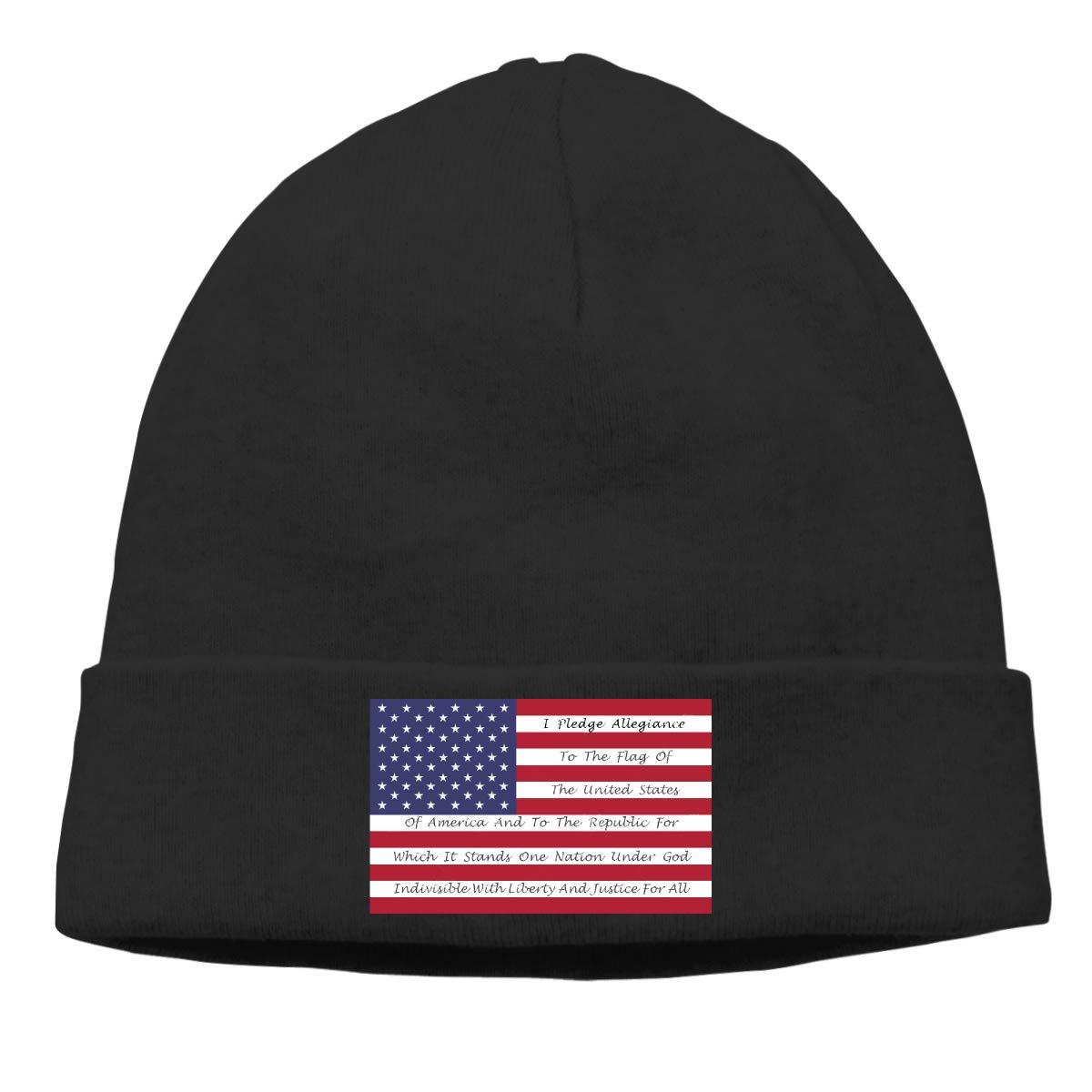 American Flag Pledge of Allegiance Beanie Hats Cap Men Women Oversized Baggy Skull Cap Ski Slouchy Hat